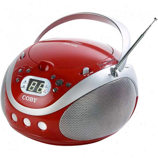 Coby Movable Cd Player With Am/fm Tuner, Red