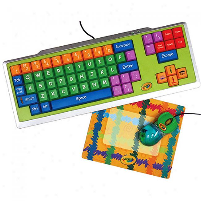 Crayola 3-piece Computer Kit With Keyboard, Mouse & Photo Mouse Pad