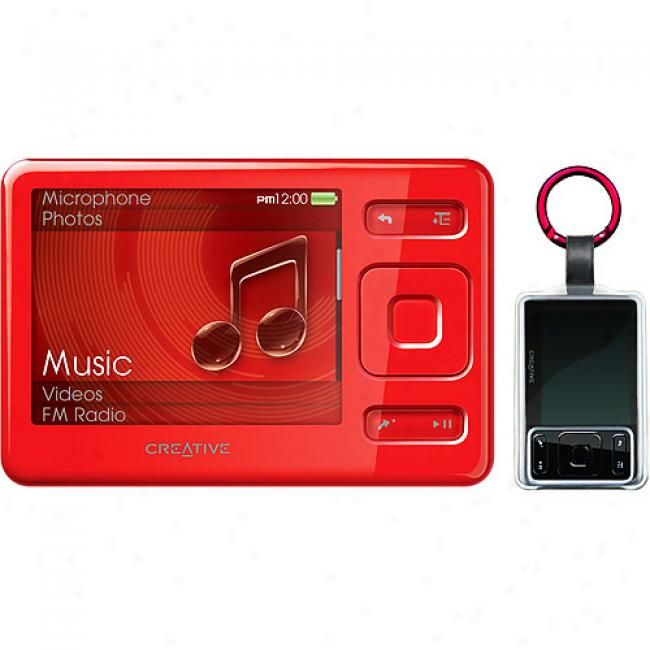 Creative Zen 4gb Ef Mp3 Video Player W/ Bonus Clear Keychain Case, Red