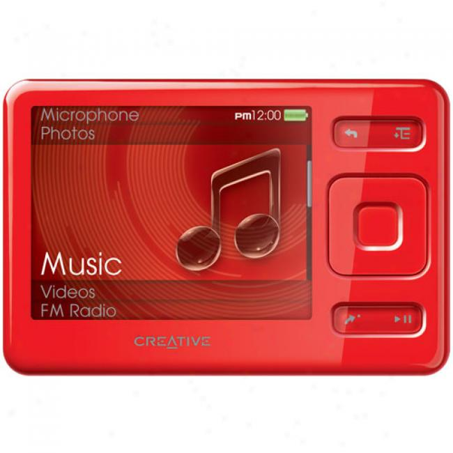 Creative Zen 4gb Mp3 Vdeo Player, Red