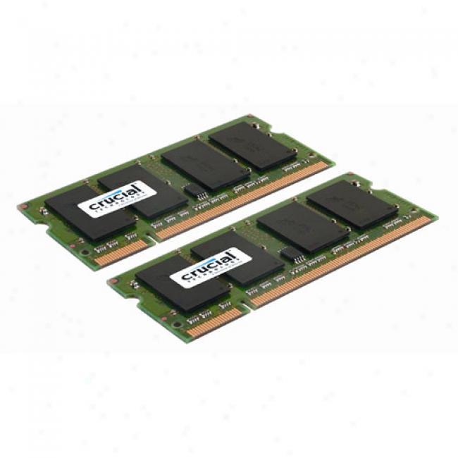Crucial 2gb Kit (2x1gb) Ddr2 667mhz Sdram Sodimm Notebook Memory Module