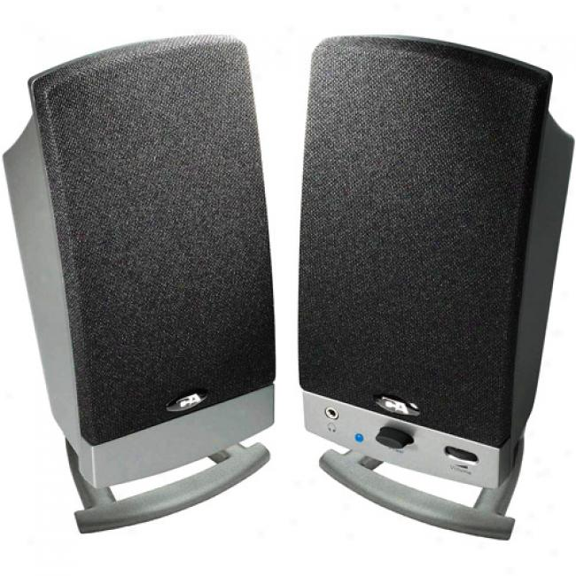 Cyber Acoustics 2.0 Black Computer Pedestal Speakers