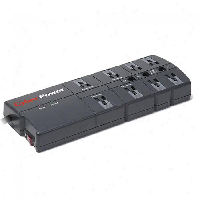 Cyberpower 2400 Joules 8 Oulef Surge Protector