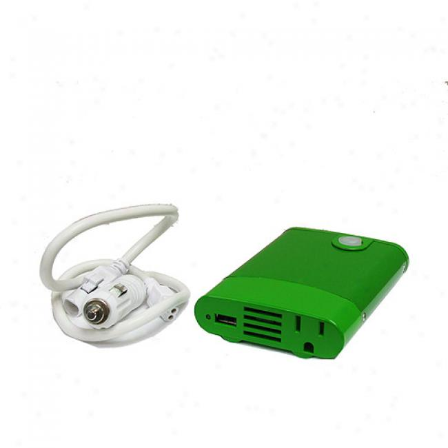 Dc To Ac/usb 180-watt Peak Power Inverter For Laptops, Phones, Mp3 Players & More, Green