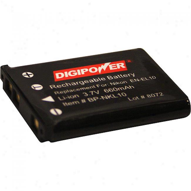 Digipower Bp-nkl10 Replacement Li-ion Battery For Nikon En-el10, Compatible With Nikon Colpix S200, S500, S510, S700, P50, S210, S520, S600, S60