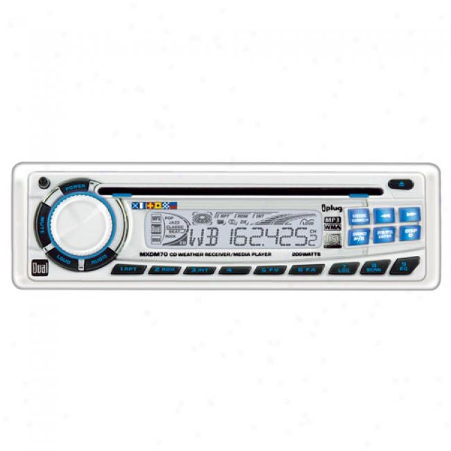 Dual 200-watt Cd/mp3/wma/weatherband Marine Receiver, Mx-dm70