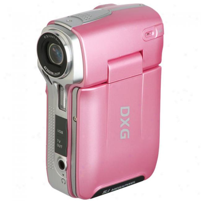 Dxg 575v Pink 5.1 Mp Digital Camcorder