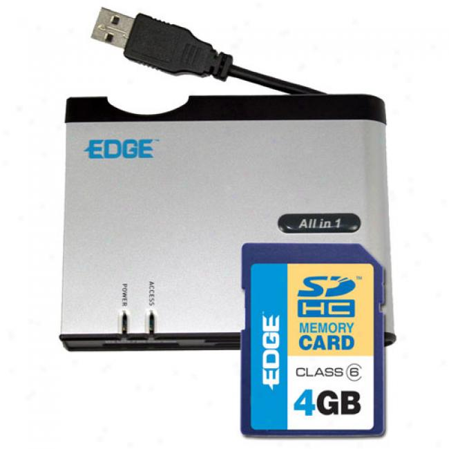 Edge 4 Gb Sdhc Card nAd All-in-one Card Reader With Xd And Sdhc Support