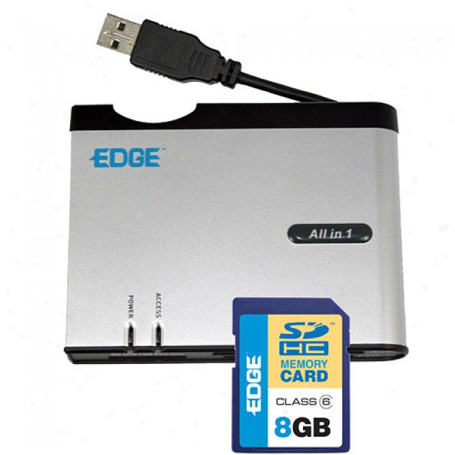 Edge 8 Gb Sdhc Card And All-in-one Card Reader With Xd And Sdhc Support
