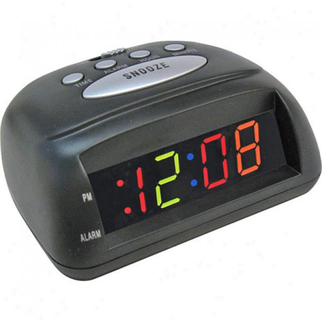 Elgin Alarm Clock W/ Multicolor Led Display, Black