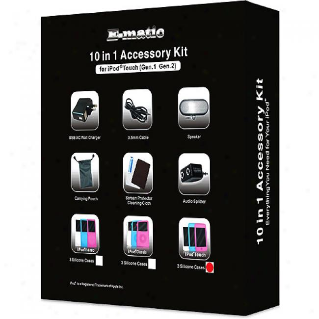Ematic 10-in-1 Accessory Kit For Ipod Touch W/speakers, Ac Charger, Cases & Much More!