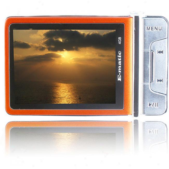 Ematic 4gb Video Mp3 Player 2.4-in. W/cameraA nd Video Recorder, Metal1ic Orange
