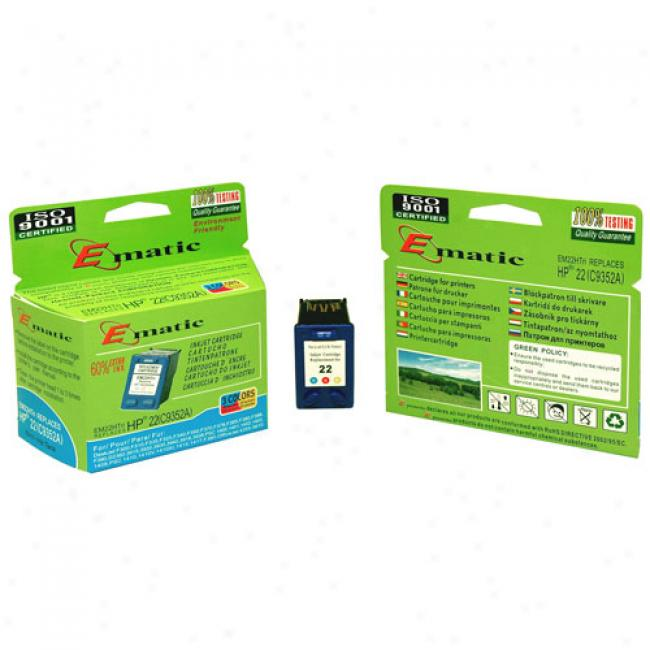 Ematic Inkjet Cartridge, Compatible With Hp 22 Tri-color (c9352an)