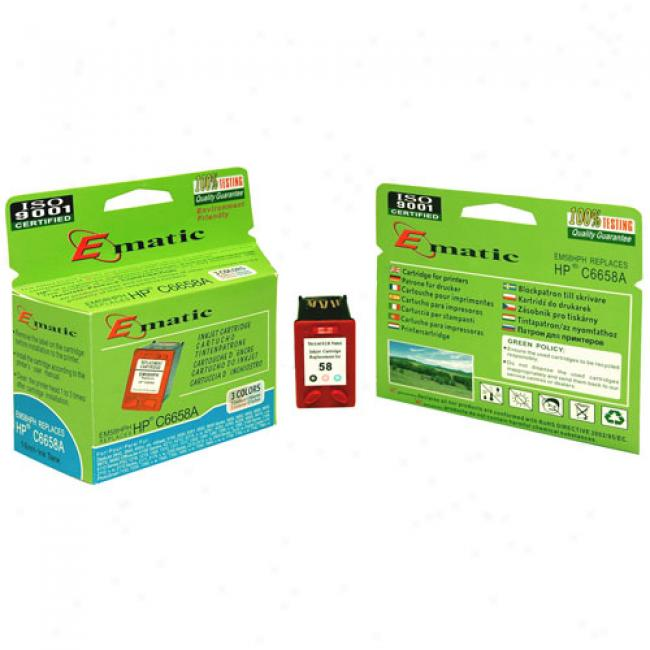 Ematic Inkjet Cartridge, Compatible With Hp 58 Tri-color Photo (hp C6658a)