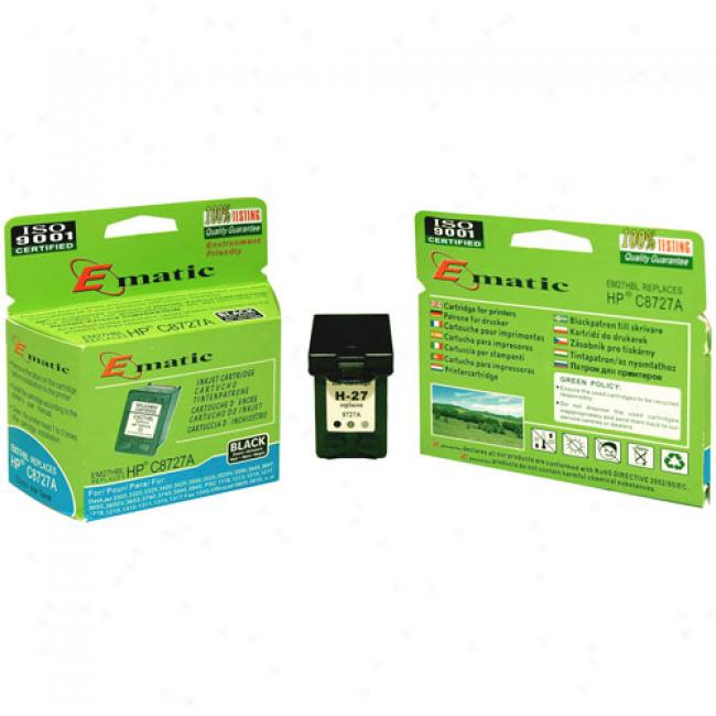 Ematic Inkjet Cartridge, Compatible With Hp 27 Black (hp C8727a)