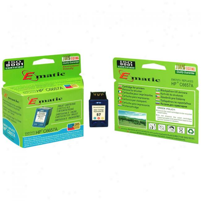 Ematic Inkjet Cartridge, Compatible With Hp 57 Tri-color (hpc6657an)