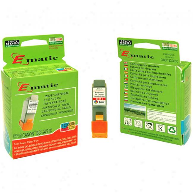 Ematic Inkjet Cartridge Replaces Canon Bci-24/21 Color