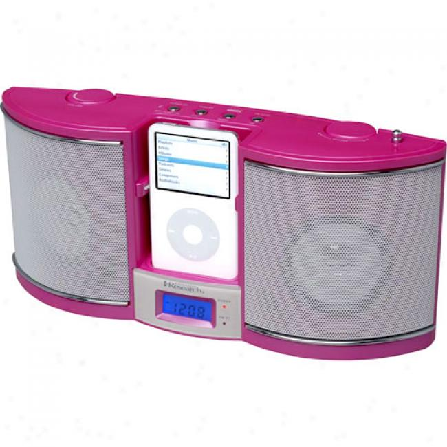 Emerson Portable Sound System With Ipoddock - Pink