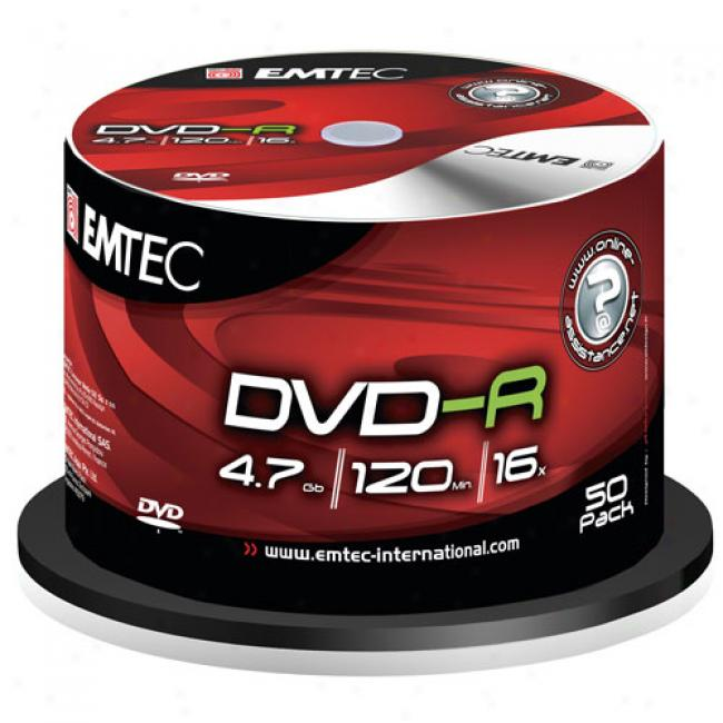 Emtec 16x Write-once Dvr-r - 50 Disc Spindle