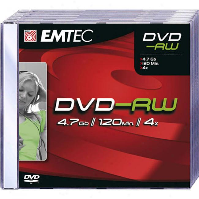 Emtec 4x Rewritable Dvd-rw Discs, 5-pack