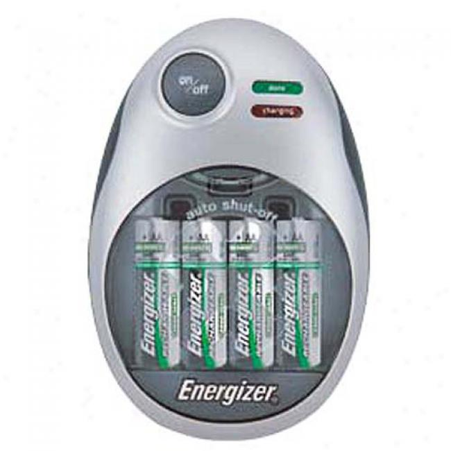 Energizer Quiet Charger W/ 2 Rechargeable Aa & 2 Rechargeable Aaa Batteries