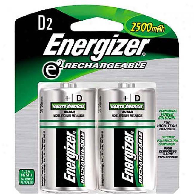 Energizer Rechargeable D Batteries, 2-pack