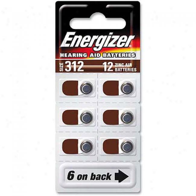 Energizer Type 312 Zinc Air 1.4-volt Hearing Aid Batteries, 12-pack