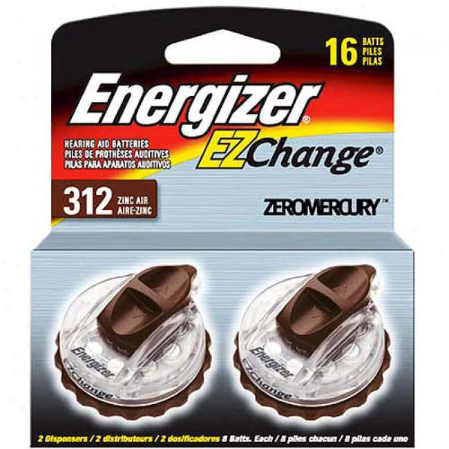 Energizer Type 312 Zinc Air 1.4-volt Hearing Aid Batteries, Two 8-packs
