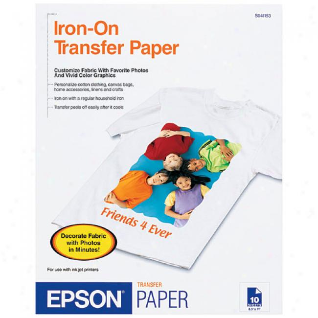 Epson Idon-on Cool Peel Transfrr Paper, 8.5