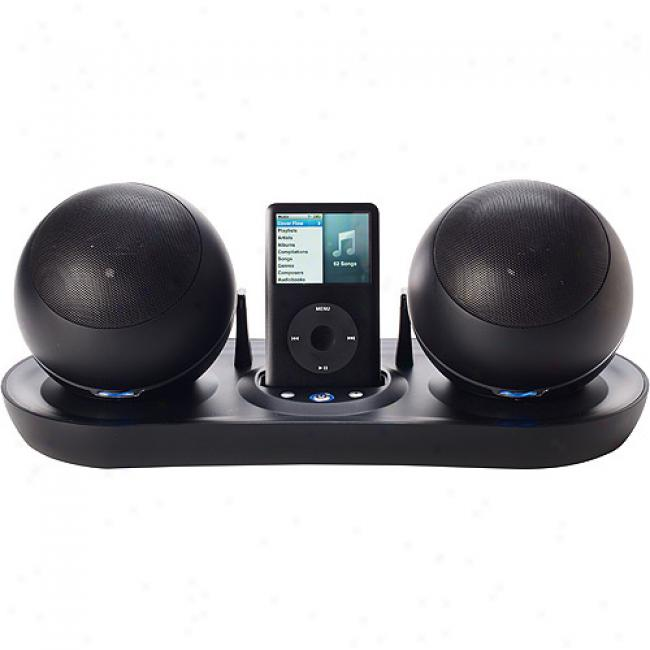 Excalibur 157bk Soundmaster Satellite Wireless Speakers With Universal Dock Toward Ipod