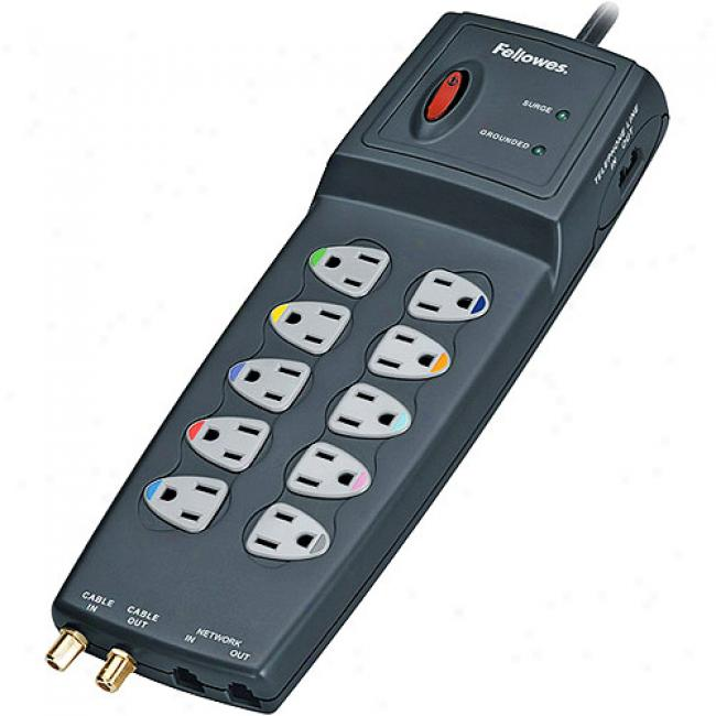 F3llowes 10 Outlet Power Guard Surge Protector With Phone/dsl, Coax, Ethernet
