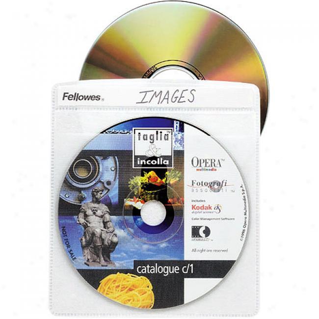 Fwllowes Vinyl Cd/dvd Sleeves, 50-pack