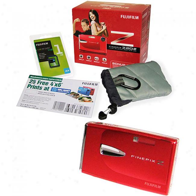 Fujifilm Z20fd Red 10mp Digital Camera, 1gb Sd Card & Case Bundle