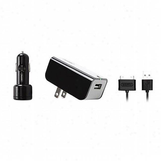 Griffiin Powerduo Ipod Ac Charger & Vehicle Charger Bundle