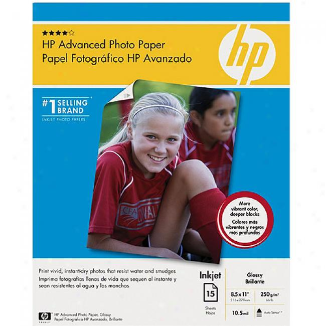 Hp Advanced Glossy Photo Paper, 15 Sheet/letter/8.5