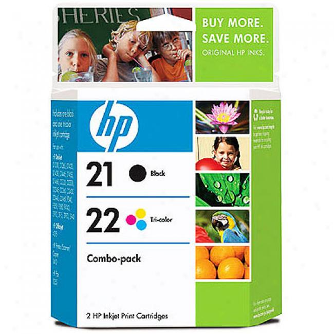 Hp No. 21/22 Black And Tri-color Ink Cartridge Combo Pack
