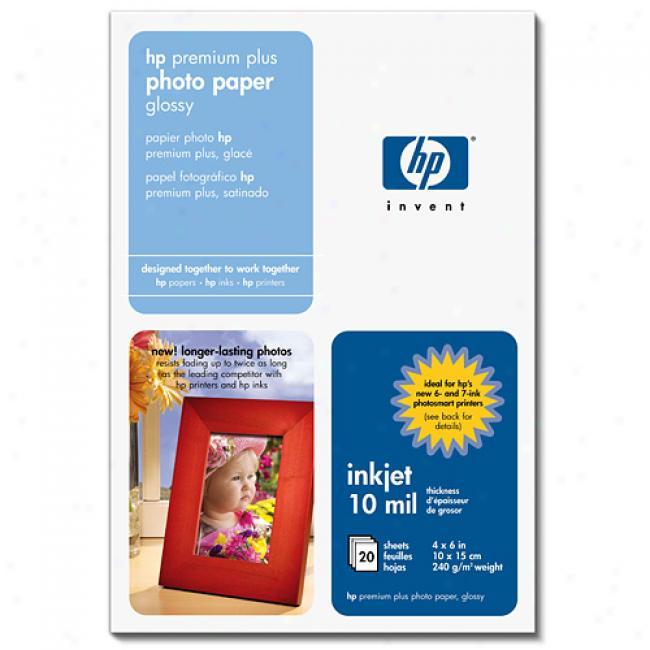 Hp Q1978a Premium Plus Photo Paper, High Gloss (60 Sheets, 4 X 6