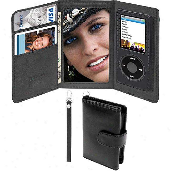 I-tec Wallet Style Leather Case With Mirror For Ipod Nano 4g
