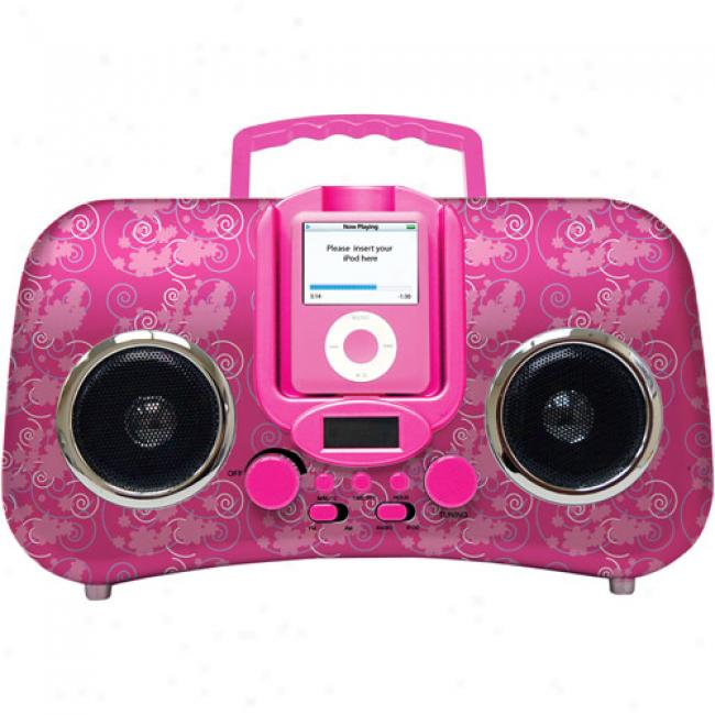 Iconce;ts Am/fm Boom Box For Ipod, Pink