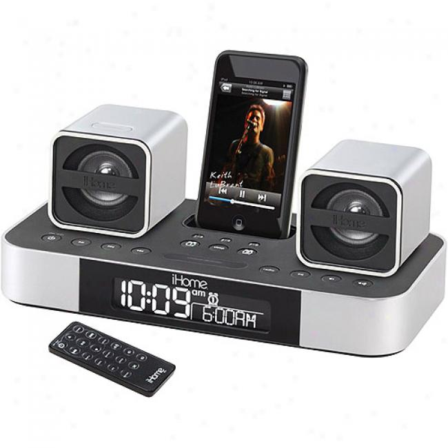 Ihome 2.1 Micro Bookshelf Stereo System With Subwoofer Because Ipod, Ih51brc