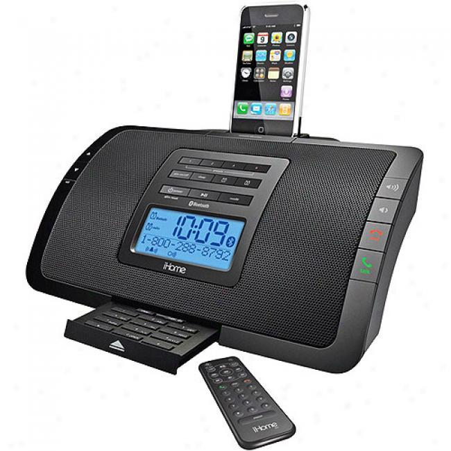 Ihome Bluetooth Clock Radio/speakerphone For Iphone & Ipod