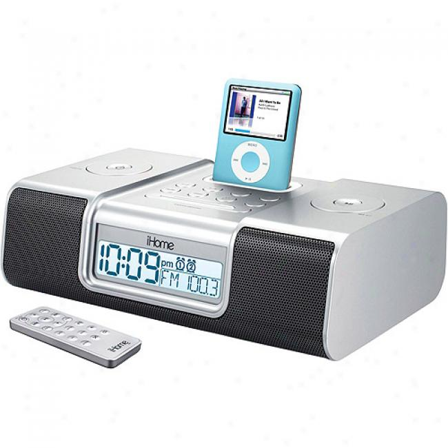 Ihome Silver Clock Radio With Audio System For Ipod, Ih9s6r
