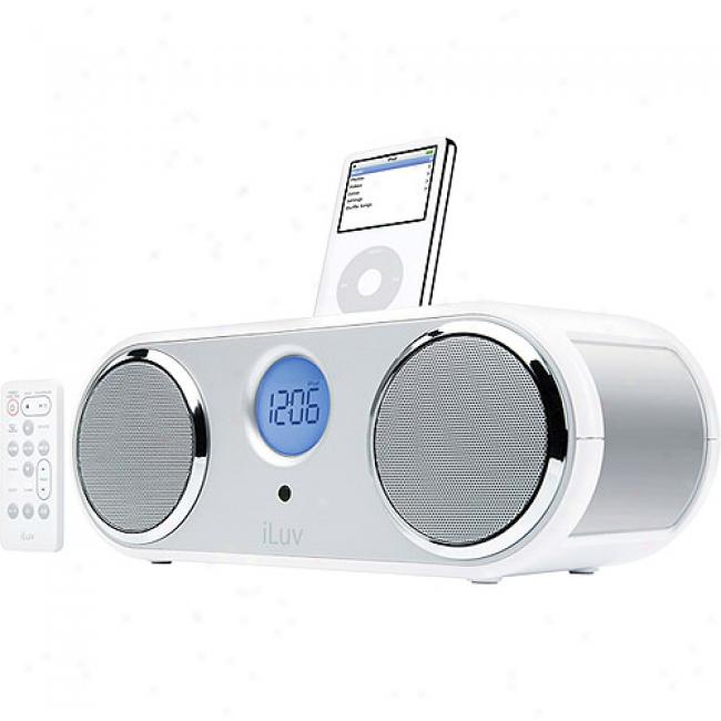 Iluv Steeeo Clock Radio With Ipod Dock, White