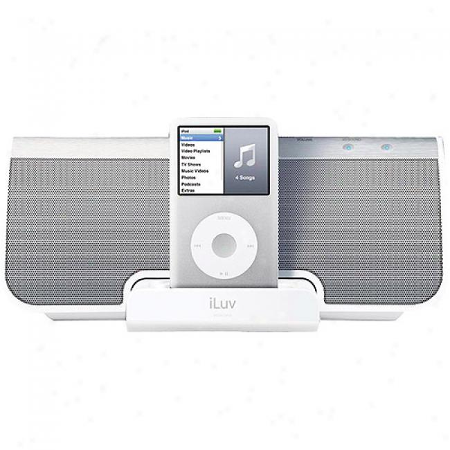 Iluv Stereo Speakers With Ipod Dock, White