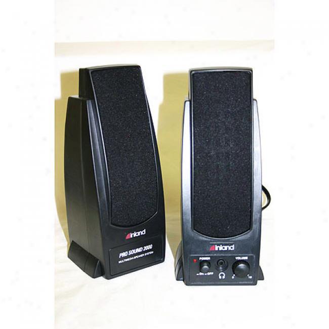 Inland Pro Sound 2000 2-piece Black Computer Speamer