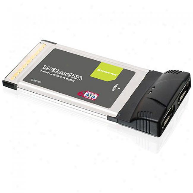Iogear Esata 1.5gpbs Dual Port Caddbus Card For Laptops
