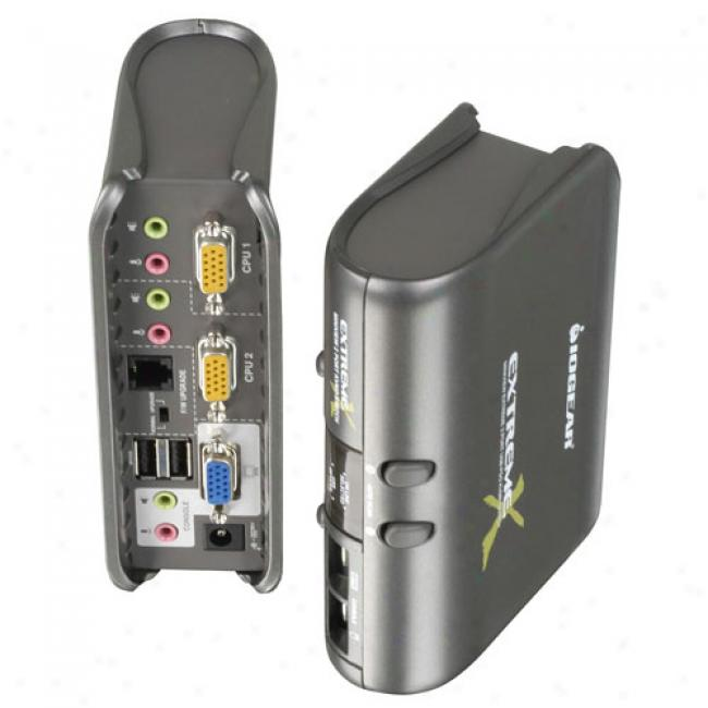 Iogear Miniview Extreme 2-port Multimedia Kvm And Pedipheral Sharing Switch