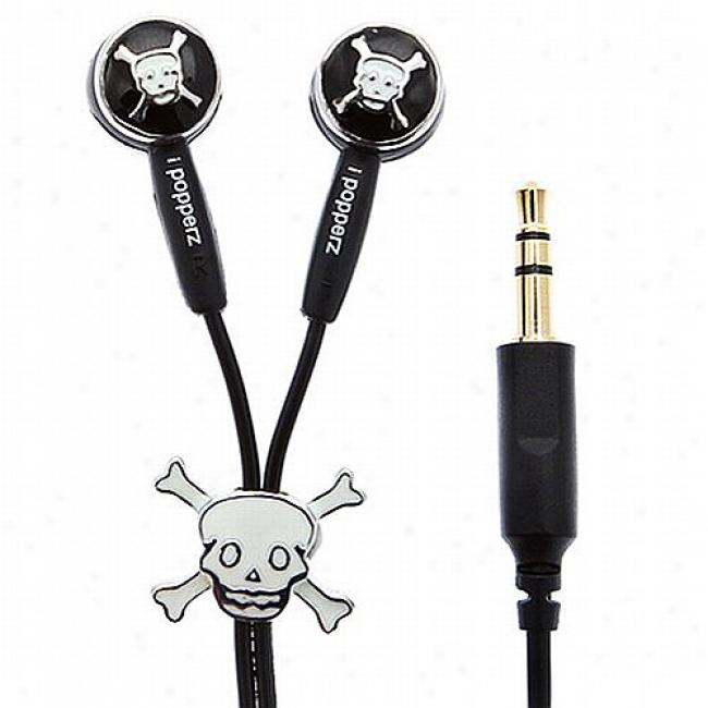 Ipopperz Arrrgh! Cranium And Bones Earbud Headphones