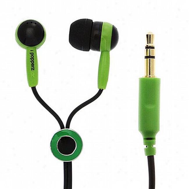 Ipopperz Black/green/black Earbud Headphones