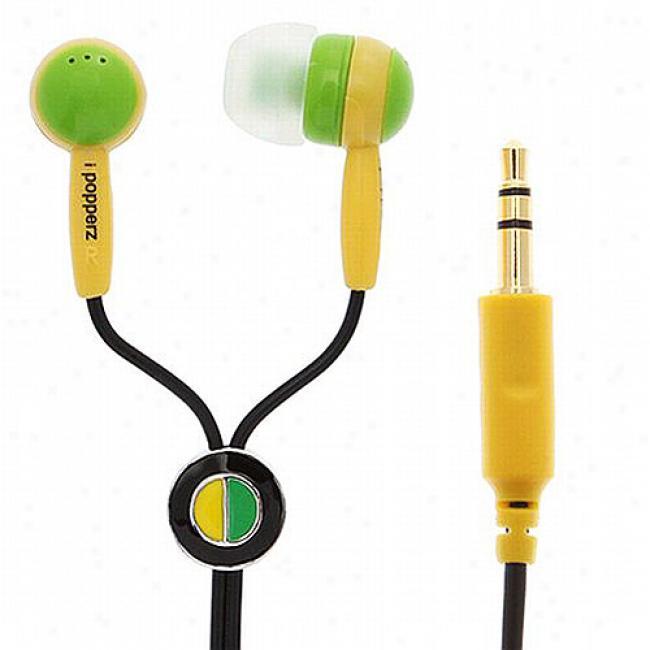 Ipoppwrz Green/yellow/black Earbud Headphones